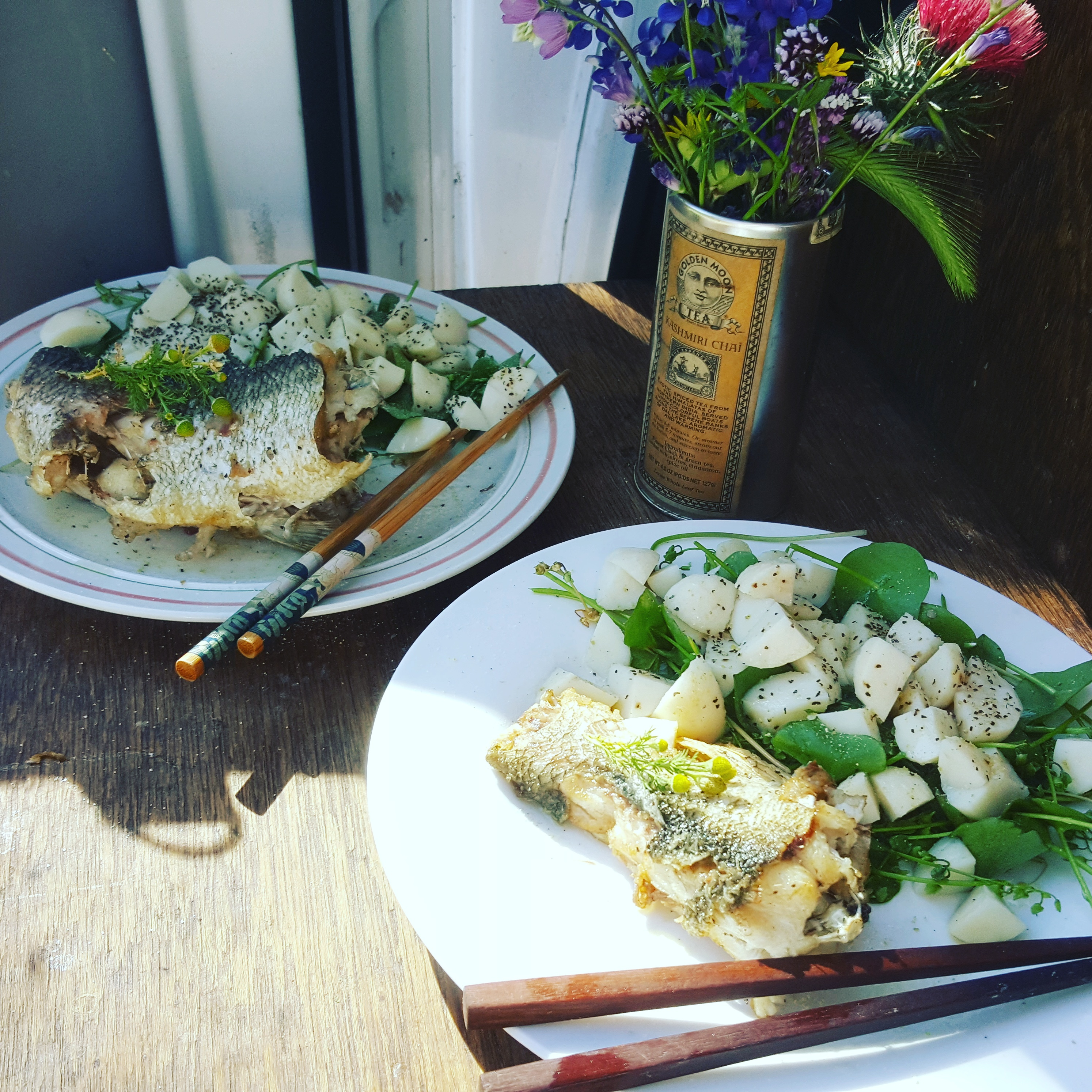 Rainbow Trout and miners lettuce salad